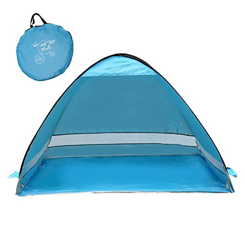 SunnyRoyal Automatic Pop Up Tent, 2-3 Person Beach Cabana Tents for Camping/Fishing/Picnic, Portable Outdoor Uv Protection Beach, Tent Sun Shelter Beach Shade for Baby, Blue