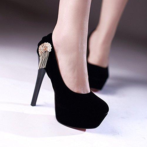 YCMDM scarpe col tacco alto Belle metallo con frange in camoscio scarpe casual donne Nuova Primavera Autunno Moda Rosso Nero 35 36 37 38 39 40 41 42 43 , black , 42