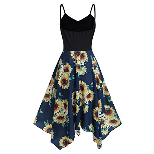 Aniywn Plus Size Spaghetti Straps Swing Dress Women Sunflower Print Irregular Hem Party Dress Navy ()