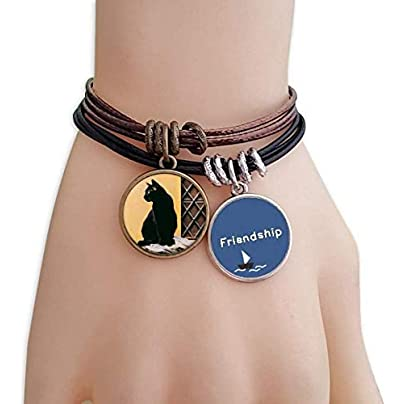ProDIY Animal Cool Black Cat Photograph Friendship Bracelet Leather Rope Wristband Couple Set Estimated Price -