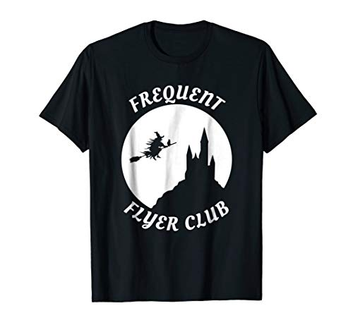 Funny Frequent Flyer Club Halloween Witch T Shirt