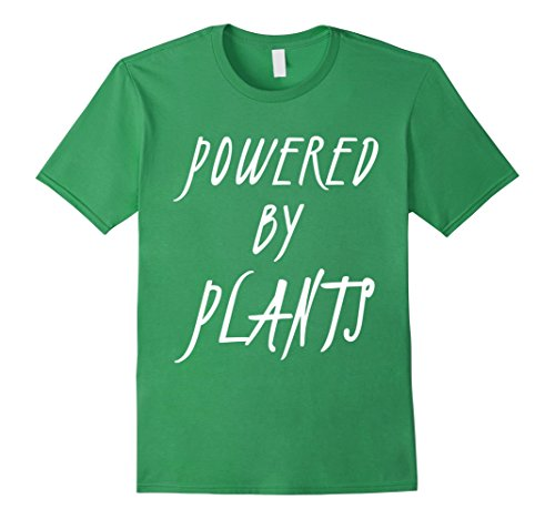 Mens Powered by Plants T-Shirt Funny Vegan Gift Vegetarian Shirt Medium Grass (Gift For Vegetarian)