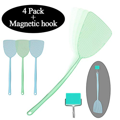 Newjinda [4 Pack] Fly Swatter with Magnetic Hook, Manual Swat Pest Control 18[Long Handle], Heavy Duty 2 Colors Mosquito Swatter Best for Home Helper(4 Fly swatters, 1 Magnetic Hook)