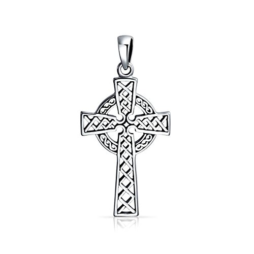 Bling Jewelry 925 Sterling Silver Celtic Cross Religious Pendant