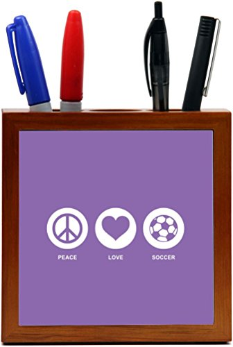 Rikki Knight Peace Love Soccer Violet Color Design 5-Inch Tile Wooden Tile Pen Holder (RK-PH42772) by Rikki Knight