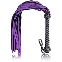 BootKitchenTan Soft Genuine Suede Leather Whips With Braided Handle Flogger Purple For Role Play Kit