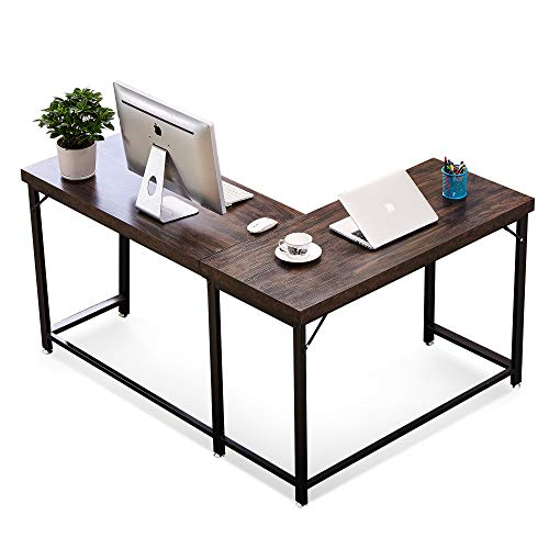 Modern Reversible L Shaped Computer Desk Mid Century Corner Gaming Desk Sturdy Office Writing Desk for Small Space Home Office Workstation with Large Table Top and Metal Leg 58 x 44 Inch (Desk Corner Reversible)