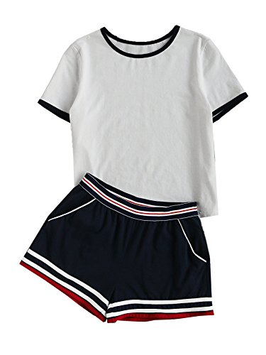 SweatyRocks Womens Short Sleeve 2 Piece Outfit Round Neck Tee with Shorts Set