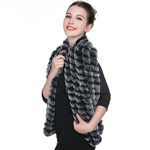 URSFUR Women Winter Genuine Rex Rabbit Fur Shawl Scarf in Black Frost