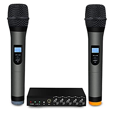 ARCHEER VHF Bluetooth Microphone System Mini Portable Singing Mixer Karaoke Machine with Dual Wireless Handheld Microphones for Smart Phone /iPad /PC and Other Bluetooth-enable Devices by ARCHEER