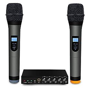 archeer vhf bluetooth microphone system mini portable singing mixer karaoke machine. Black Bedroom Furniture Sets. Home Design Ideas