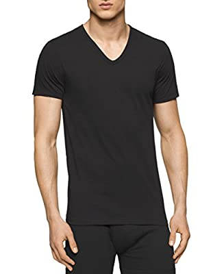 Calvin Klein Men's Cotton Classics Short Sleeve V-Neck T-Shirt, Black, Large