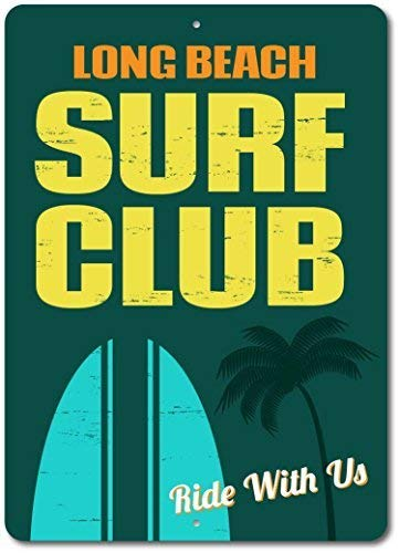 DYTrade Beach Surf Club Sign, Custom Surfer Ride with Us Decor, Personalized Palm Tree Surfboard Beach Name Gift - 8