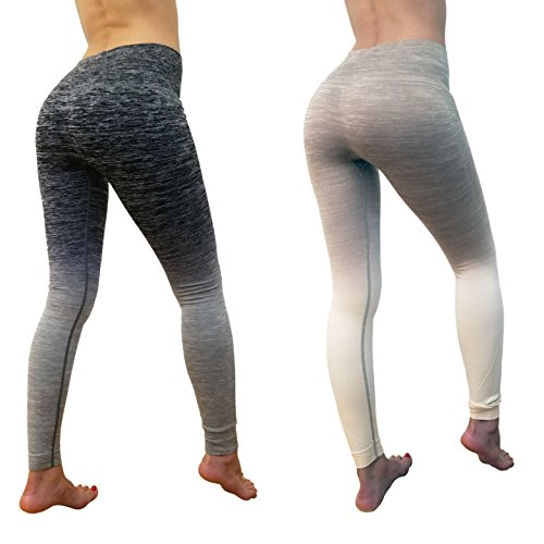 ITZON Black & Grey, Beige & White Ombre Fitness Yoga High Waist Leggings | Comfy, Confident & Stretchy [2 Pack]