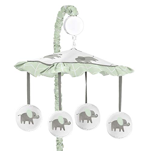 Sweet Jojo Designs Mint, Grey and White Musical Baby Crib Mobile for Watercolor Elephant Safari Collection