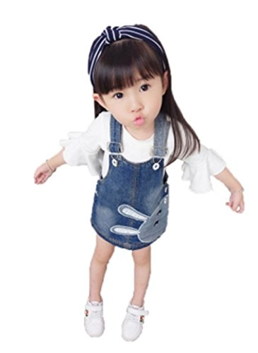 YINUO 子供 女の子 デニム サロペット 通学 ワンピース 可愛 吊りスカート い プリンセススカート オーバーオール