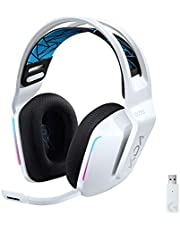 Logitech G733 K/DA Lightspeed Wireless Gaming Headset with Suspension Headband~16.8 M. Color LIGHTSYNC RGB, Blue Voice Mic Techonolgy and PRO-G Audio Drivers - Official League of Legends Gaming Gear