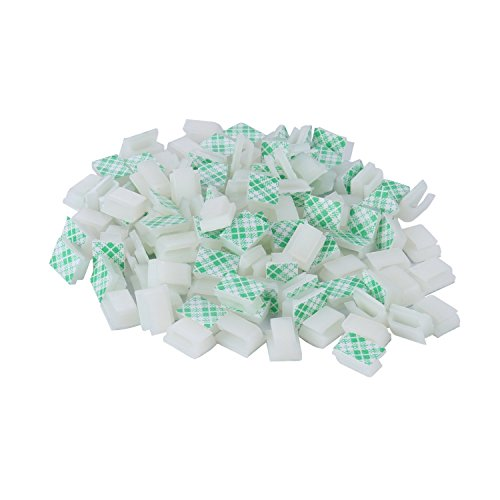 Wire Cable Clips Adhesive Cable Clips - XINCA Ethernet Cable Clips Wire Holder System 100 Pcs White for Car, Office,Desk Accessories,Home,Nightstand