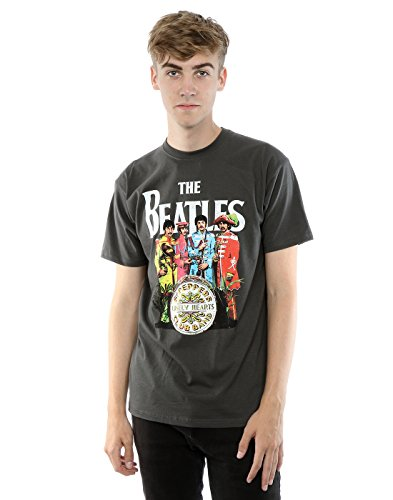 Camiseta-de-manga-corta-Sgt-Pepper-de-The-Beatles-Gris
