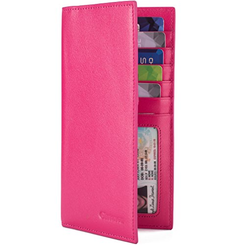 Slim Leather ID/Credit Card Holder Long Wallet with RFID Blocking - Hot Pink Bill Holder Wallet