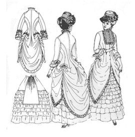 1880 Costume Patterns - 1880's Polonaise and Walking Skirt Pattern