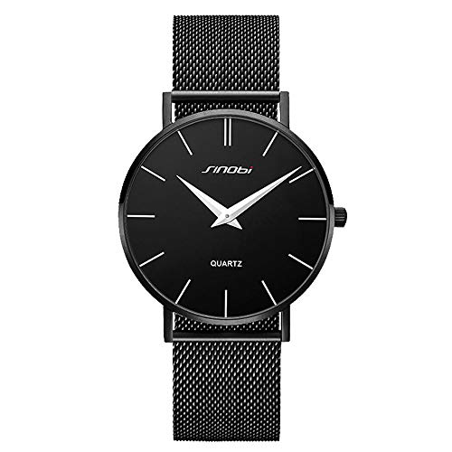 SINOBI Ultra Thin Minimalist Stainless Steel Mesh Band Mens Watch Unisex Wrist Watch
