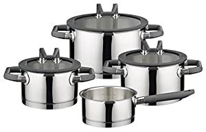 ELO Premium Black Pearl Stainless Steel Kitchen Induction Cookware Saucepan with Heat Resistant Handle