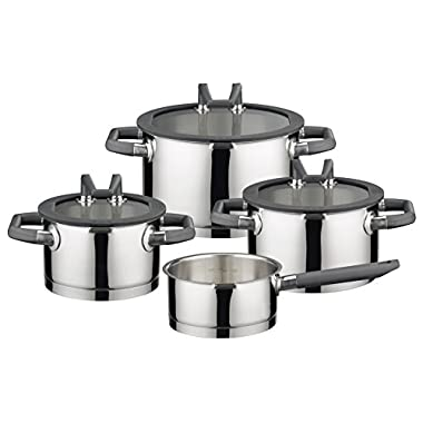 ELO Premium Black Pearl Stainless Steel 7-Piece Pots and Pans Induction Cookware Set with Easy-Pour Rim, Patented Stand-by Lids, Integrated Measuring Scale and Heat-Resistant Handles