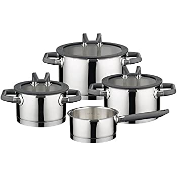 elo premium black pearl stainless steel kitchen induction cookware pots and pans set. Black Bedroom Furniture Sets. Home Design Ideas