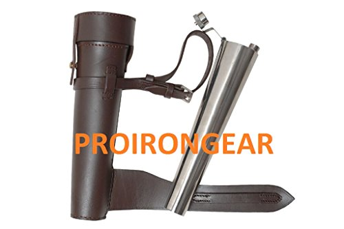 Saddle Flask Leather Cased Stainless Steel Baton Fox Hunting ()