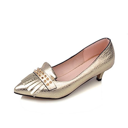 VogueZone009 Women's Soft Material Pointed Closed Toe Kitten-Heels Pull-On Solid Pumps-Shoes Gold