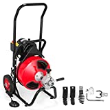 """VEVOR 75 Ft x 3/8 Inch Electric Drain Auger Best fit 1-1/4""""(32mm) to 4""""(100mm) Pipes Electric Drain Auger Portable Drain Cleaner Machine with 4 Cutters Drain Cleaning Machine Plumbing Tool"""