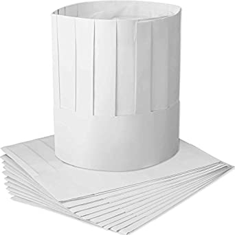 """NEW Disposable White 9/"""" Paper Chef Tall Hat Set Food Service Supplies 10pc BULK"""