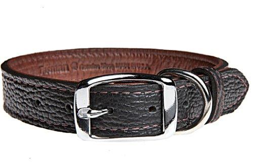 Tasman's Natural Pet Premium Tucson Bison Leather Dog Collar - Black, Mahogany Lined, (Bison Leather Dog Collar)