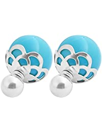 Stainless Steel Womens Double Sided Earrings Stainless Steel Glass Pearl Front/Back Stud Earrings,