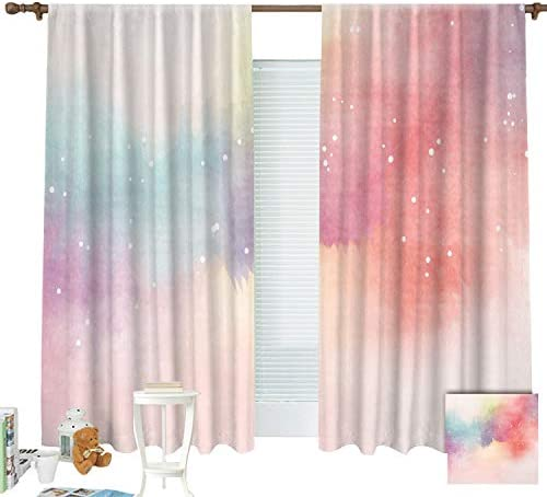 ZXAWT Colourful Clouds and Mists Curtains Pocket top Curtain Thermal Insulated Curtain