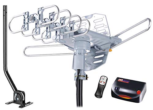 McDuory HDTV Antenna Amplified Digital Outdoor Antenna 150 Miles Range with Mounting Pole - 360 Degree Rotation Wireless Remote - Tools-Free Installation - Support 2 TVs
