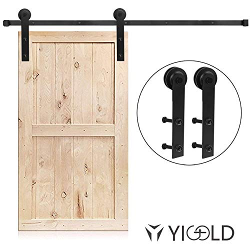 (10FT Sliding Barn Door Hardware Kit, Heavy Duty Single Door, Black, Super Smoothly and Quietly, Simple and Easy to Install, Fit 60