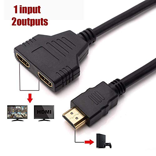 HDMI Splitter Cable Male 1080P to Dual HDMI Female 1 to 2 Way HDMI Splitter Adapter Cable for HDTV HD, LED, LCD, TV, Support Two TVs at The Same Time 30cm