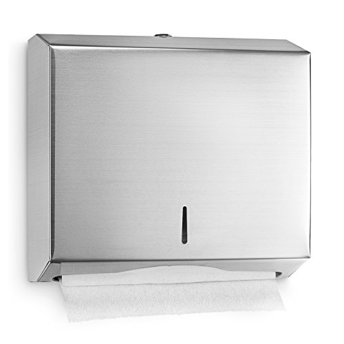 Alpine industries C-Fold/Multifold Paper Towel Dispenser - Brushed Stainless Steel - 290 C-Fold Or 380 Multifold Towels (Grey Towel Paper Holder)