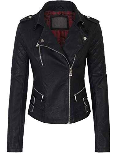 KOGMO Womens Double Breasted Faux Leather Zip Up Jacket with Fashionable Details