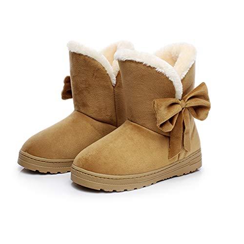 Ankle Boots Women Fur Bowtie Flat Cotton Boots Ladies Slip on Shoes Warm Comfort Short Snow Boots ()