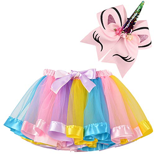 (BGFKS Layered Ballet Tulle Rainbow Tutu Skirt for Little Girls Dress Up with Matching Sparkly Unicorn Hairbow (L Rainbow, L,4-8)