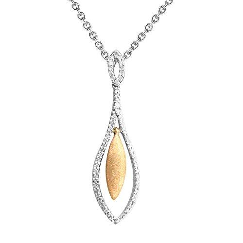 - 10K Two Tone Drop Shape White Diamond Pendant Necklace (1/4 carat)