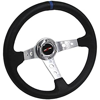 NRG Steering Wheel - Black Leather with Red Spokes Part # ST-006R-RD - 350mm 13.78 inches Deep Dish 06