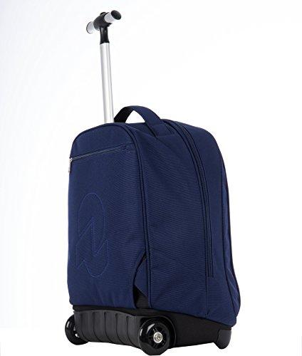 TROLLEY - INVICTA - BENIN - 2in1 Rucksack mit Rollen mit versenkbaren Tragegurte - Blau 35Lt