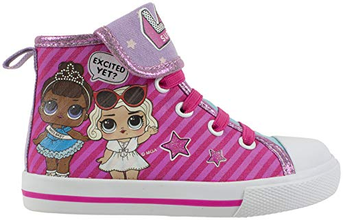 Wooden Fashion Dolls - L.O.L Surprise! Girls Shoe, Miss Baby & Leading Baby Hi Top Sneaker, Size 7 Pink