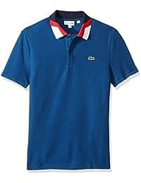Men's Short Sleeve Slim Fit Colorblock Collar Pique Polo