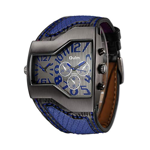 YUE watch Relojes multifuncionales de Cuarzo para Hombres, GMT Cuando el Reloj con Correa de PU de la Personalidad para el...