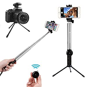 selfie stick apphome aluminum extendable monopod with metal trip. Black Bedroom Furniture Sets. Home Design Ideas